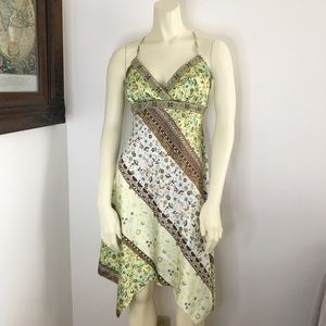 City Triangles silky green floral babydoll dress M